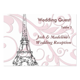 Eiffel Tower & Pink Scroll Reception Table cards Business Card Templates