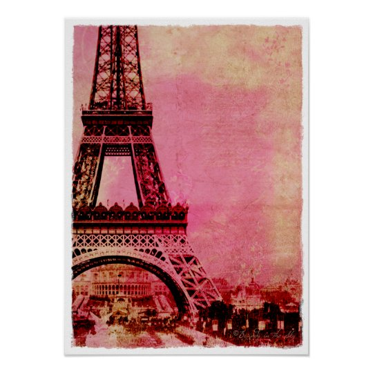 Eiffel Tower Pink Sunset Vintage Style Poster