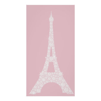 Eiffel Tower Pink White Swarovski Crystals Paris Poster