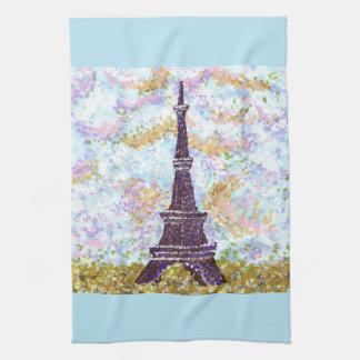 Eiffel Tower Pointillism kitchen towel