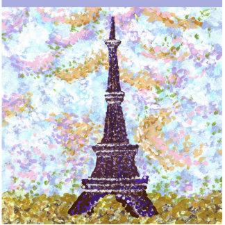 Eiffel Tower Pointillism Ornament Photo Sculpture