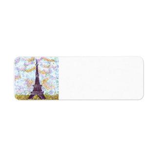 Eiffel Tower Pointillism sky grass address labels