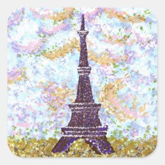 Eiffel Tower Pointillism Square Sticker