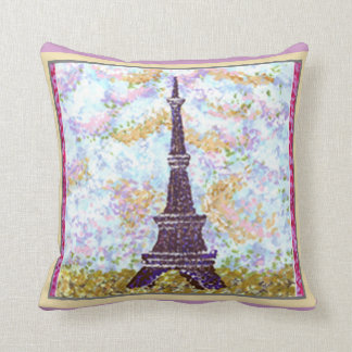 Eiffel Tower Pointillism W Misty Lilac And Limesto Throw Pillows