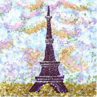 Eiffel Tower Pointillism With Sky Sculpture Brooch