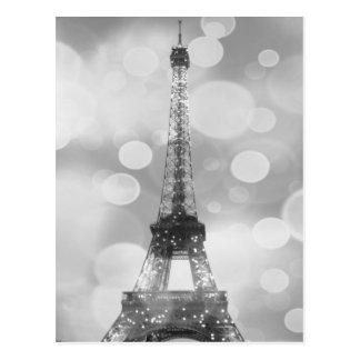 Eiffel Tower Post Card, Black & White, Vertical Postcard