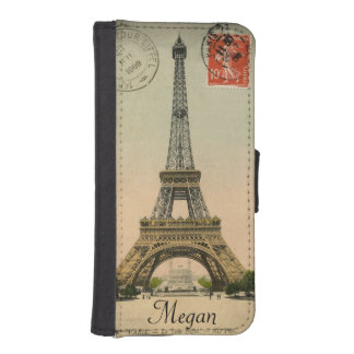 Eiffel Tower Postcard Personalized Phone Case iPhone 5 Wallet Case