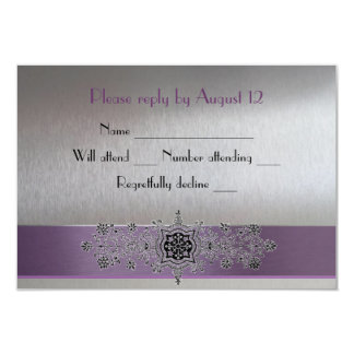 Eiffel Tower Purple and Silver RSVP 3.5x5 Paper Invitation Card