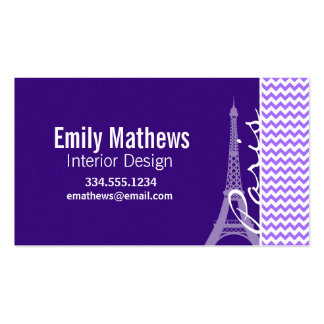 Eiffel Tower; Purple Chevron Business Card