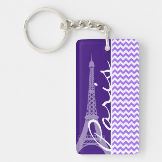 Eiffel Tower; Purple Chevron Keychain