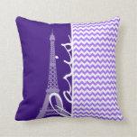 Eiffel Tower; Purple Chevron Pillows