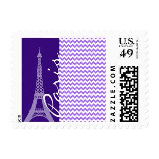 Eiffel Tower; Purple Chevron Postage
