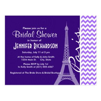 Eiffel Tower; Purple Chevron Postcard