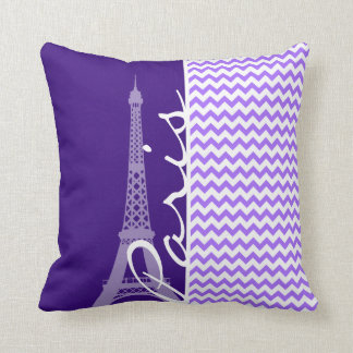 Eiffel Tower; Purple Chevron Throw Pillow