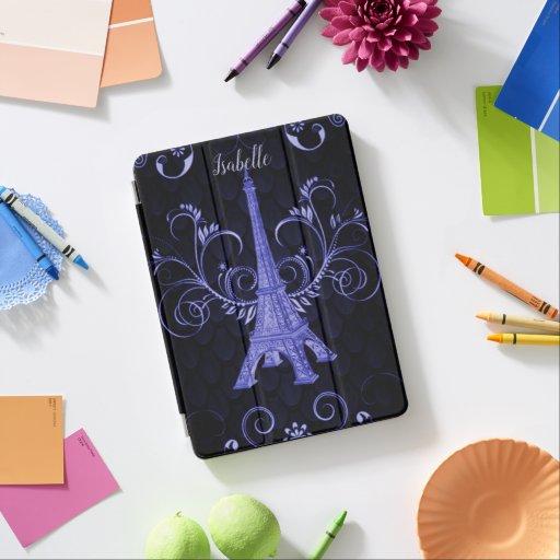 Eiffel Tower Purple Floral Swirls iPad Cover