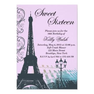 Eiffel Tower Purple Paris Sweet Sixteen Invitation