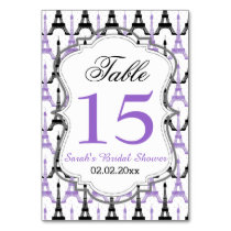 Eiffel tower Purple Personalized table numbers