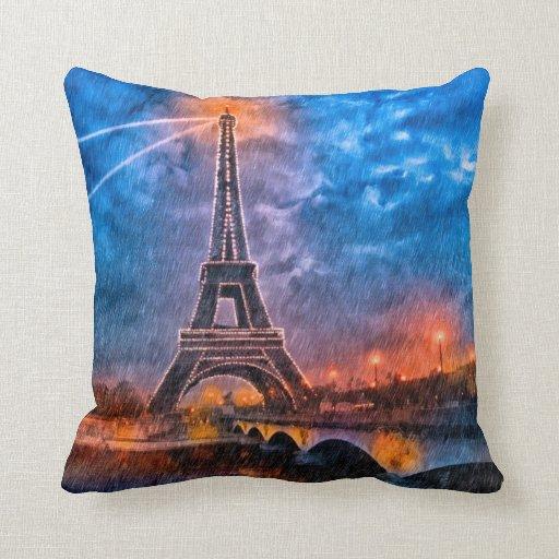 Decorative Pillows Eiffel Tower : Eiffel Tower - Rainy Night In Paris Throw Pillow Zazzle