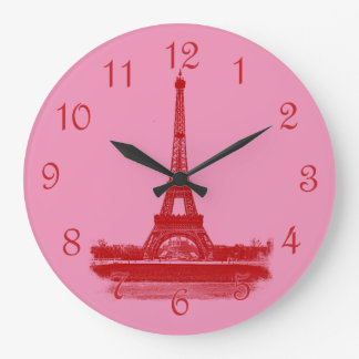 Eiffel Tower Red And Pink Large Clock