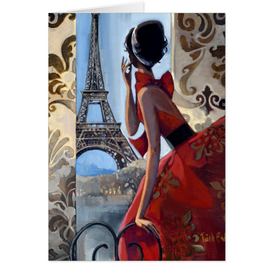 Eiffel Tower, Red Dress, Let's Go Card