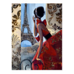 Eiffel Tower, Red Dress, Let's Go Postcard