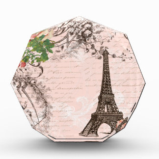Eiffel Tower Red & Pink Rose Acrylic Award