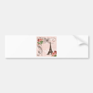 Eiffel Tower Red & Pink Rose Bumper Sticker