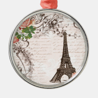 Eiffel Tower Red & Pink Rose Christmas Tree Ornaments
