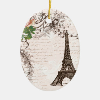 Eiffel Tower Red & Pink Rose Ornaments
