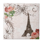 Eiffel Tower Red & Pink Rose Small Square Tile