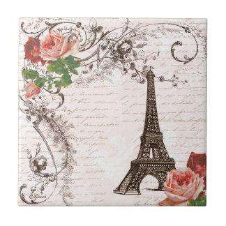 Eiffel Tower Red & Pink Rose Ceramic Tiles