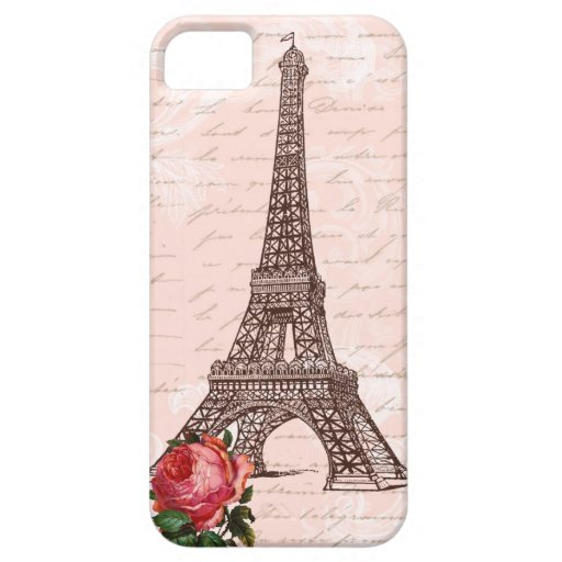 Eiffel Tower Red Rose and Script Writing iPhone 5 Cases