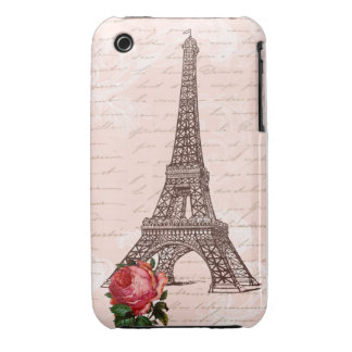 Eiffel Tower Red Rose and Script Writing iPhone 3 Case