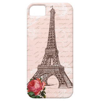 Eiffel Tower Red Rose and Script Writing iPhone SE/5/5s Case