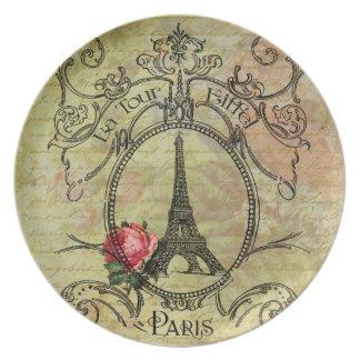 Eiffel Tower  Red Rose Steampunk Design Dinner Plate