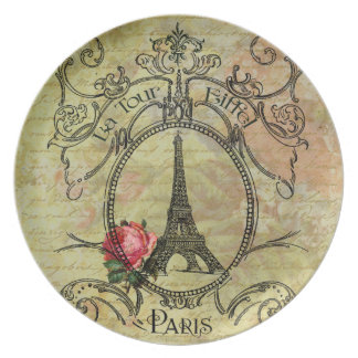 Eiffel Tower  Red Rose Steampunk Design Party Plates