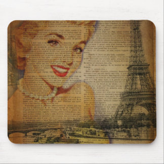 Eiffel Tower retro paris pin up girl Mouse Pad