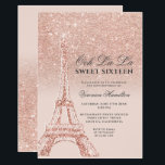 """Eiffel tower rose gold glitter pink Sweet 16 Invitation<br><div class=""""desc"""">A modern,  chic and glamorous sweet sixteen with a hand drawn rose gold glitter french Paris theme Eiffel Tower with rose gold glitter ombre gradient sparkles on an editable pastel blush pink background.</div>"""
