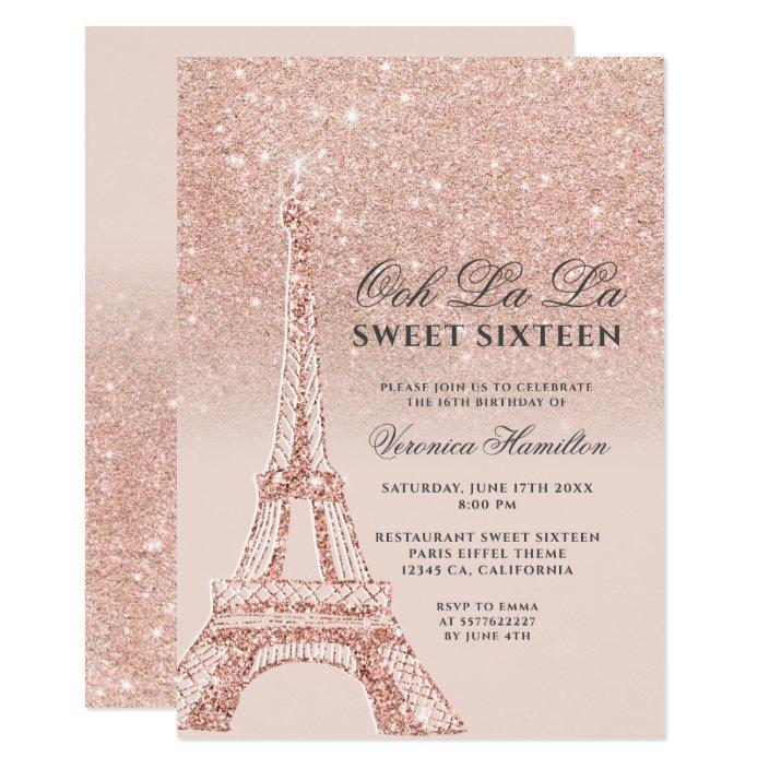 Eiffel Tower Rose Gold Glitter Pink