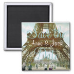Eiffel Tower Save the Date 2 Inch Square Magnet