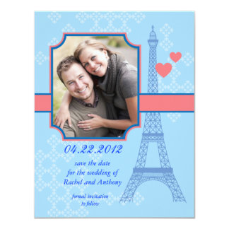 Eiffel Tower Save The Date Photo Card Invitation