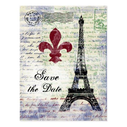 Eiffel Tower Save the Date Postcard