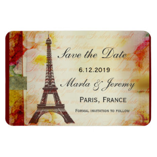 Eiffel Tower save the date Rectangular Photo Magnet