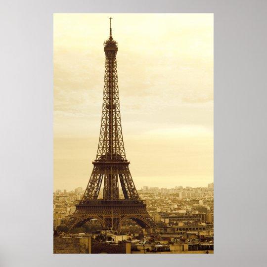 eiffel tower sepia poster