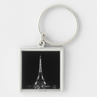 Eiffel Tower Silver-Colored Square Keychain