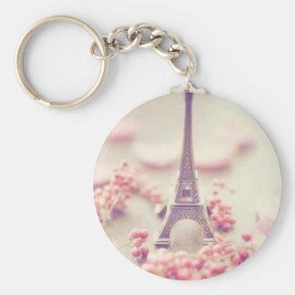 Eiffel tower simple key chain. basic round button keychain