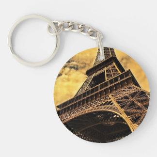Eiffel Tower Single-Sided Round Acrylic Keychain
