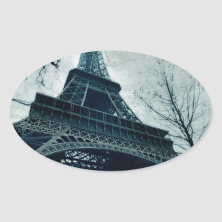 eiffel tower souvenirs oval sticker