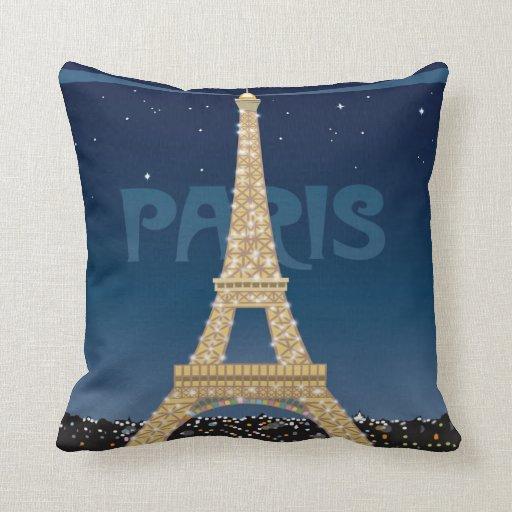 Paris Eiffel Tower Pillow 16 X 16: Eiffel Tower Sparkle Throw Pillow