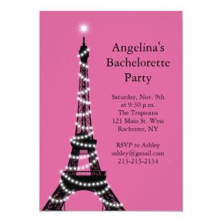 Eiffel Tower Sparkles Bachelorette Invite fuchsia